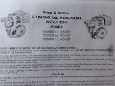 BRIGGS Stratton 6 7 8 HP Motore Proprietari Manuale Equitazione Trattore TIMONE ORIZZONTALE