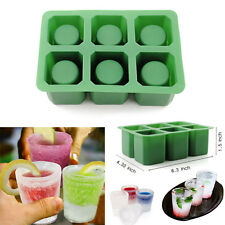 Silicone Mould Glass Cup Freeze Ice Cube Mold 6 Shots Handmade Soap Drink Maker