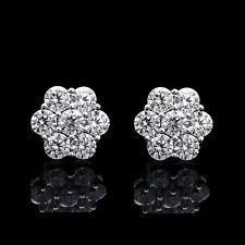 1.00ct Brilliant Created Diamond 7-Stone Cluster Earrings 14K White Gold Studs