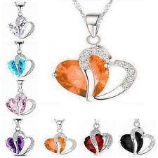 a746f8fded42 Mujeres Moda Joyería Cristal Corazón Colgante Collar de Cadena Color Plata