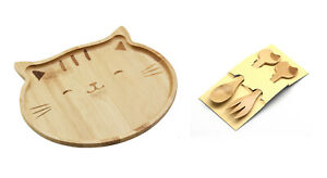 Bamboo Food Snack Plate Tray Kitty Cat Design and Kids Spoons & Forks 4572+4582