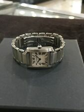 Cartier Stainless Steel Tank Francaise Ladies Quartz Watch