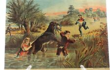 ANTIQUE LITHOGRAPH of DUCK HUNTING with CHILDREN AND DOG J.F. HILL & CO.