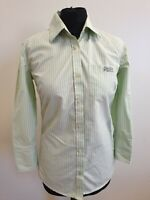 EE731 WOMENS SUPERDRY BLACK LABEL GREEN WHITE STRIPED 3/4 SLEEVE SHIRT UK S 8