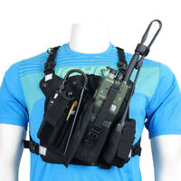 Black Harness Chest Front Pack Pouch Holster Carry Bag for Baofeng TYT Motorola