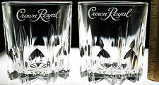 Crown Royal Crystal Cut Style Glasses Lot of 2 Tumbler Whiskey Lowball Lg-Font