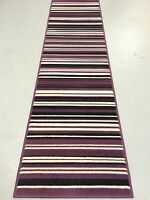 "Element Canterbury Hall Runner Purple Black 60 x 220 cm (2' x 7'3"") Striped Rug"