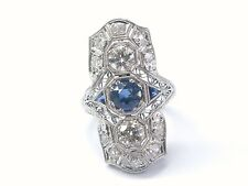 Platinum Vintage Gem Sapphire Old European Cut Diamond Jewelry Ring 1.55CT