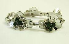 Vintage silver tone faux emerald flower bracelet