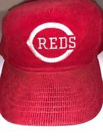 VTG 80s Cincinnati Reds MLB Corduroy Logo Hat Snapback Snapper Cap. NWOT NEW