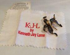 KJL Kenneth Jay Lane Lilly Brooch Gold Pearl & Black Crystals