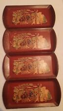 Vintage Haskelite wood trays, set of 4, stagecoach design with original box