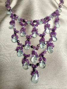 Coleman Douglas Pearls Aquamarine Droplets Amethyst Biwa Pearl Silver Necklace