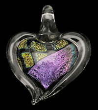 Dichroic Heart Pendant w/ Cord / Gifts for Her / Friend Gift / Valentines #53