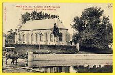 cpa RARE 80 - Village AGENVILLE (Somme) L'EGLISE et l'ABREUVOIR Cheval Calvaire