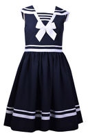 Bonnie Jean Big Girls Easter Blue Navy Nautical Bow Sailor Uniforms Dress 4-16