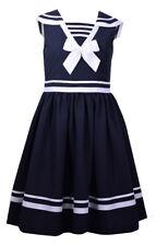 Bonnie Jean Big Girls Easter Blue Navy Nautical Bow Sailor Uniforms Dress 2T-16