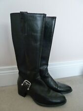 FAB Geox Black Leather Knee High Block Heel Riding Boots UK 6 EU 39 VGC Buckle