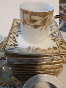 Espresso Turkish Arabic coffee Set with Sugar Bowl/ Tray- 10 Cups/Saucers Gold