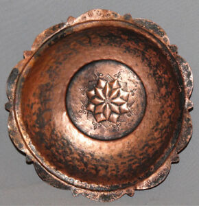 ANTIQUE EUROPEAN HAND MADE FLORAL COPPER BOWL CUP