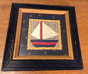 Vintage Sailboat Picture Framed Quilt Look Nursery Nautical Boat