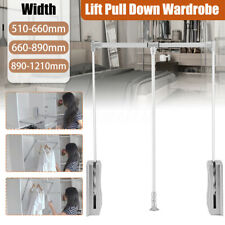 Lift Pull Down Wardrobe Hanging Rails Clothes Hanger Closet Storage Space Stand