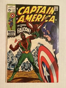 Captain America 117 Marvel 1969 First Appearance Of The Falcon Cover Detached