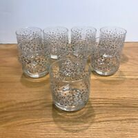 Vintage Mid Century Modern Libbey Glitter Chips Old Fashioned Set of 8 Glasses