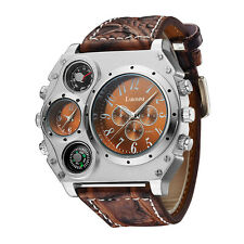Men's Luxury Leather Quartz Military Stainless Steel Wrist Watch Dual Time Zones