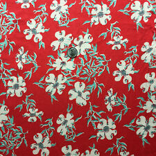 Vintage Partial Feed Sack Lovely White Floral w/Mint Leaves on Red 21