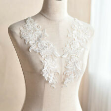 1 Pair Ivory Bridal Lace Applique Motif Trim Embroidery Wedding Sewing Craft DIY