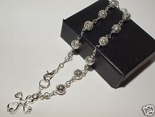Rosary Bracelet filigree beads Silver plated Rosary prayer beads Religious