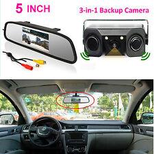 "5"" LCD Car Rear View In-mirror Monitor+ 3in1 Radar Paraking Sensor Backup Camera"