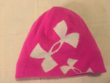 Youth Girls Pink Under Armour One Size Reversible Acrylic Beanie Toboggan Hat