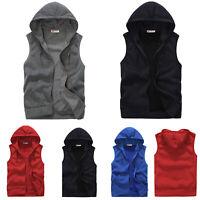 Mens Plain Hoodie Sleeveless Jacket Sporty Vest Tanktops Waistcoat Hooded Coat L