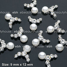 10 Pcs 3D Nail Art Deco White Pearl Alloy Jewelry Glitter Rhinestone #EJ-261