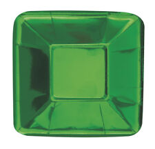8 X Petit Brillant Vert Feuille Métallique Papier Apéritif Canape Plaques 13cm