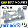 HC/833E OMP RACING ADJUSTABLE SEAT MOUNT BRACKETS in ALUMINIUM SILVER 6mm FIA