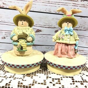 Our America Jar Candle Topper Bunny Rabbit Winter Sweater Lot of 2 Pink Blue
