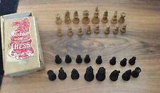 Vintage Staunton Boxwood House Martin  Chess Pieces & Storage Box