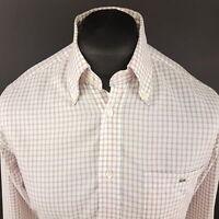 Lacoste Mens Shirt 40 (MEDIUM) Long Sleeve White Regular Fit Check Cotton