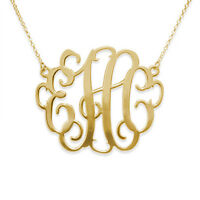 "2"" Oversized Monogram Necklace in 18k Gold Plated - Personalized (USA Seller)"