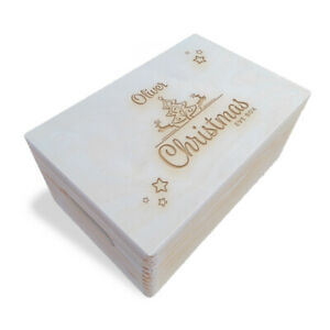 Wooden Engraved Personalised Christmas Eve Box, 30x20x13.5 cm, Unpainted