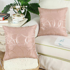 "2Pcs  Pillow Cover Reversible Vintage Striped Circle Sofa 18""x18"" Dusty Pink"