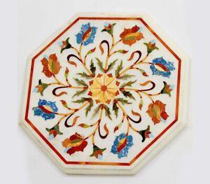 "18"" Marble Table Top Handmade Semi precious stones Work"