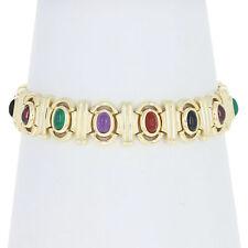 "Multi-Gemstone Link Bracelet 7"" - 14k Gold Amethyst Chalcedony Onyx Tourmaline"