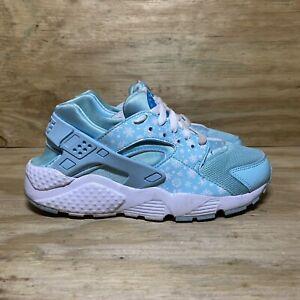 Nike Huarache Run Print Shoes Women's Size 6 Blue Lagoon White