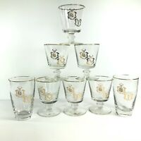 Set of 8 Gold Leaf Drinking Glasses Caduceus Rx Pharmacy Apothecary Snake Libbey