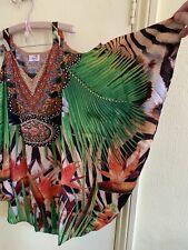 Silk Tropical & Tiger Print Cold Shoulder Embellished Kaftan Top Size M NWT