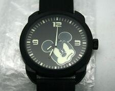 Disney Watch Mickey Mouse XL 45 mm Men's Black Case W/ Black Rubber Band New